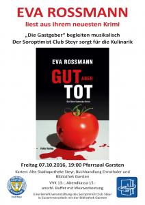 """Plakat Benefizlesung Eva Rossmann """"Gut, aber tot"""" begleitet von den Gastgebern"""