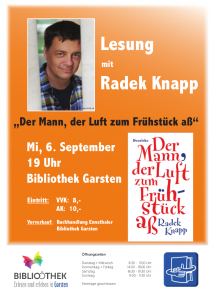 Lesung mit Radek Knapp Der Mann,der Luft zum Frühstück aß